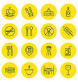 set of 16 food icons includes dining room vector image vector image