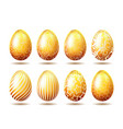 set of easter golden eggs vector image