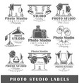 set of vintage photo studio labels vector image vector image