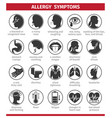 signs and symptoms allergies icons set vector image