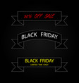 three ribbon banners black friday sale black vector image vector image