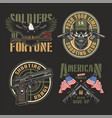 vintage army colorful labels vector image vector image