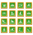 water sport icons set green vector image vector image