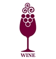 wine glass and grapes icon vector image vector image