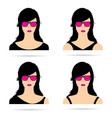 woman head with sunglasses set sensual vector image vector image