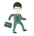 Young asian man walking with his briefcase vector image