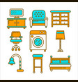 home and room furniture interior accessories or vector image