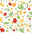 Green Leaves Floral Spring Fall Seamless Pattern vector image
