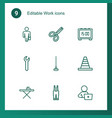 9 work icons vector image vector image