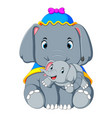 an elephant wearing a blue hat and happy playing vector image vector image