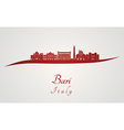 Bari skyline in red vector image vector image