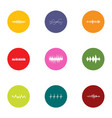 beat icons set flat style vector image