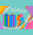 birthday bright banner design made colored paper vector image vector image
