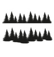 black silhouettes conifers isolated on white vector image