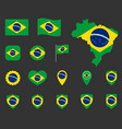 brazil flag icons set symbols flag of vector image vector image