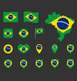 brazil flag icons set symbols flag vector image vector image