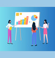 business presentation with graphics and charts vector image vector image