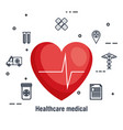 cardiology heart healthcare medical icons vector image vector image
