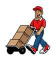 cartoon happy warehouse worker mascot vector image vector image