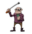 cartoon image of mean old man vector image vector image