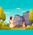 caveman painting flat composition vector image vector image