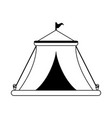 circus festival tent with flag in black and white vector image vector image