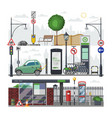 city isometric urban cityscape with bus vector image vector image