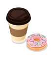 coffee cup and donut flat modern style vector image