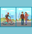 couple walking in city park man on bicycle set vector image vector image