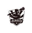 emblem seal badge lacrosse man team logo template vector image vector image
