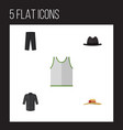 flat icon garment set of panama elegant headgear vector image vector image