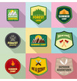 forest badge icons set flat style vector image