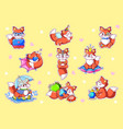 fox kawaii stickers cute funny animal characters vector image vector image