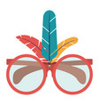 glasses feather carnival design vector image