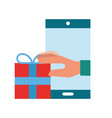 hand holding gift smartphone online shopping vector image