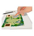hand pencils general plan vector image vector image