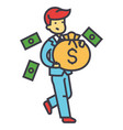 happy rich businessman with money bag finance vector image