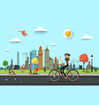 man on bicycle on street with people on city park vector image vector image