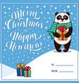 merry christmas greeting card with panda vector image