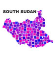 mosaic south sudan map of square elements vector image vector image