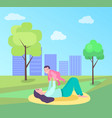 mother playing with bain park on mat vector image vector image