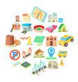 municipal icons set cartoon style vector image