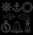 nautical symbols white chalk on blackboard vector image vector image