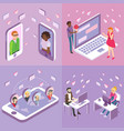 online dating flat isometric poster banner vector image vector image