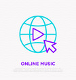 online music icon button play on globe vector image
