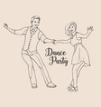 pair of young man and woman dressed in retro vector image vector image