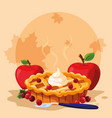 pie with apples for thanksgiving day vector image vector image