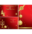 red christmas frames with gold decor vector image