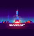 rocketship launching from spaceport cartoon vector image vector image