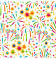 seamless pattern with bright colorful fireworks vector image vector image